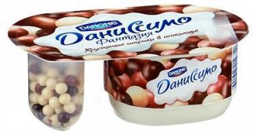 Йогурт Даниссимо Фантазия Хрустящие шарики в шоколаде 6,9% 105г