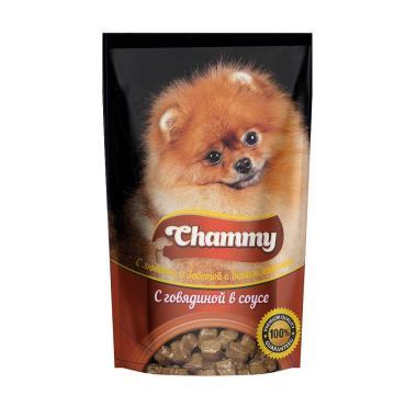 Корм влажный для собак говядина в соусе Chammy 85 гр. Дой-пак