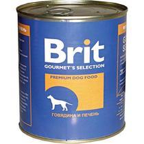 Консервы Brit для собак с говядиной и печенью в жестяной банке
