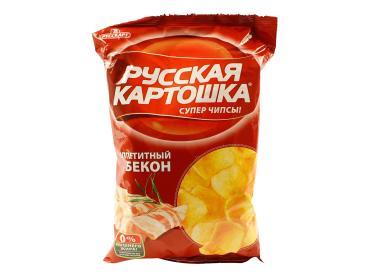 Чипсы картофельные Русская картошка Со вкусом аппетитный бекон