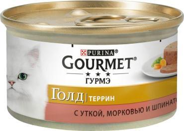 Консервы Gourmet Gold кусочки в паштете с уткой, морковью и шпинатом по-французски