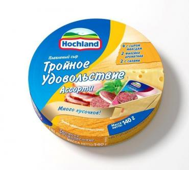 Сыр плавленый Hochland Ассорти тройное удовольствие 8шт.