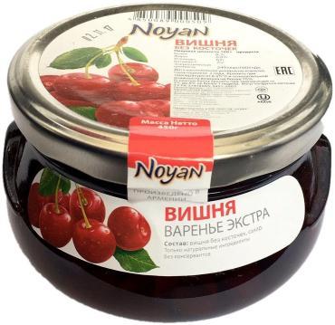 Варенье без косточек экстра вишня, Армения, Noyan, 450 гр., стекло