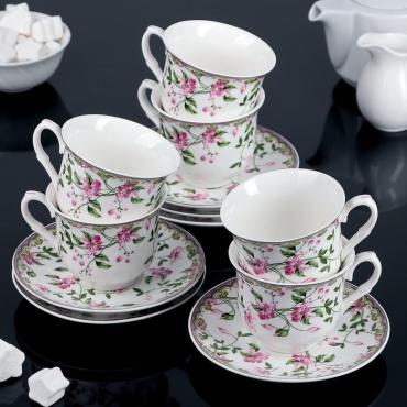 Сервиз чайный Доляна Бланко 12 предметов чашка 220 мл. 6 шт., блюдце 6 шт.