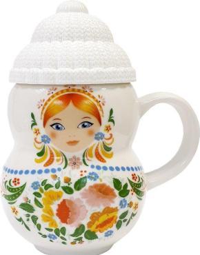 Чай чёрный, цейлонский, байховый, крупнолистовой, с ароматами клубники и сливок, с кружкой, Матрешка, Leysan, 30 гр., керамика