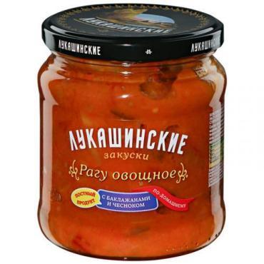 Рагу Лукашинские маринады овощное с баклажанами и чесноком по-домашнему, 450 гр, стекло
