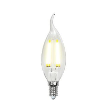 Лампа светодиодная, форма свеча на ветру, прозрачная, серия Sky, теплый белый свет, Uniel LED-CW35-6W/WW/E14/CL PLS02WH, 38 гр.,картонная коробка