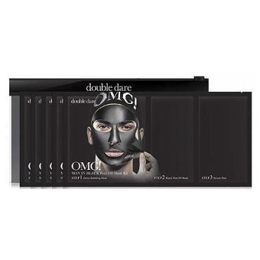 Комплекс мужских масок для лица Double Dare OMG! Man in Black трехкомпонентный, Смягчение и восстановление, 5 шт