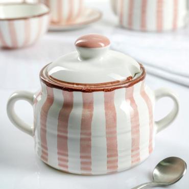 Сахарница Дымов керамика Страйп 500 мл. 11х9 см. розовый