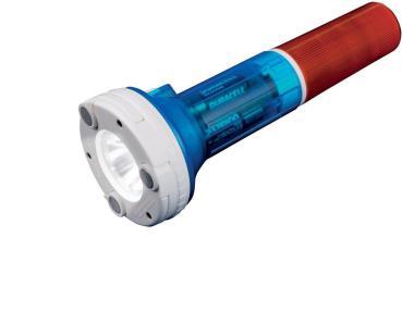 Фонарь пластиковый корпус, XP-C Cree White LED, 4хАА в/к., цвет янтарно-синий, P-AT031-BB Amber-Blue, Uniel-offroad Premium Flashing ranger, картонная коробка