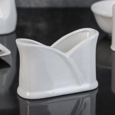 Салфетница Доляна Классика 11,5х5х8 см. фарфор белый