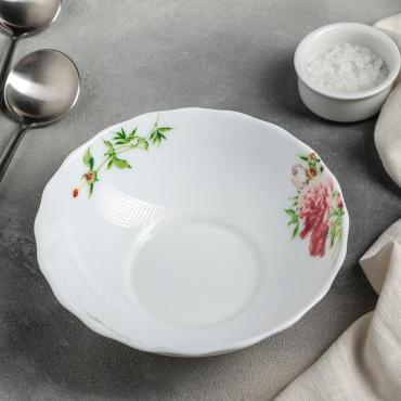 Тарелка суповая Доляна Бархатная роза 700 мл. 18 см.