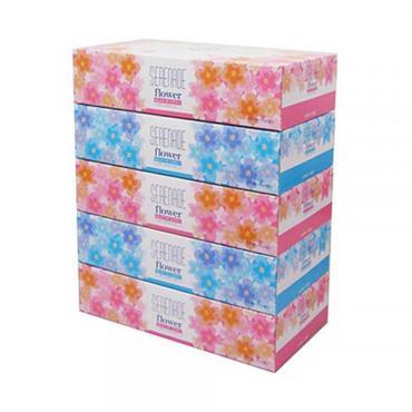 Салфетки 2-слойные 150 шт., Ideshigyo Цветочная Серенада, картонная коробка