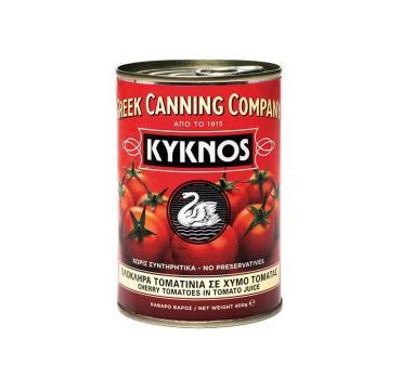 Томаты целые очищенные, консервированные в собств. соку Kyknos (черри), Греция, ж/б 400 гр