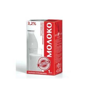 Молоко 3,2 %, Эконом, 1 л., Тетра-пак Эконом, 1 л., тетра-пак