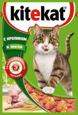 Корм влажный для кошек, кролик в соусе, KiteKat 85 гр., Дой-пак