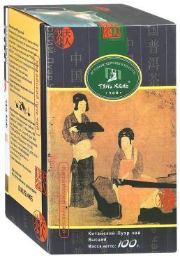 Чай Тянь Жень Пуэр черный крупнолистовой 100 гр
