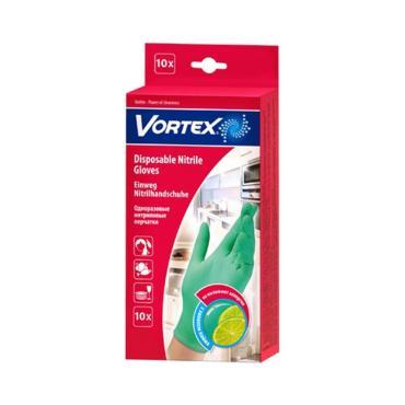 Перчатки VORTEX нитриловые с ароматом лайма,зеленые размер S 8шт