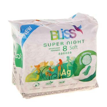 Прокладки женские, 8 шт, Bliss super night soft, Пластиковая упаковка