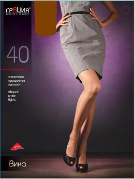 Колготки 40-ден размер 2 цвет-загар Грация Вика, Картонная пачка