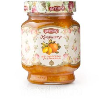 Конфитюр Ратибор натуральный из апельсина с лимоном, 350 гр, стекло