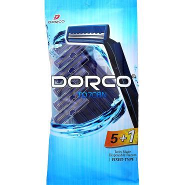 Станок для бритья одноразовый мужскойTD-708 2 лезвия 5 штук+1 Dorco New Fresh, пластиковый пакет