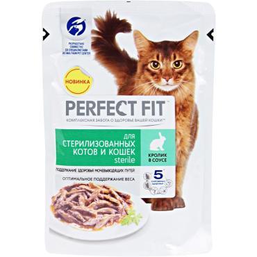 Корм влажный для стерилизованных кошек с кроликом Perfect Fit 85 гр. Дой-пак