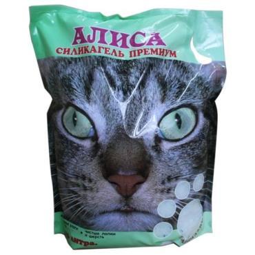 Наполнитель силикагелевый для кошачьих туалетов Алиса 8,2 л. Пластиковый пакет