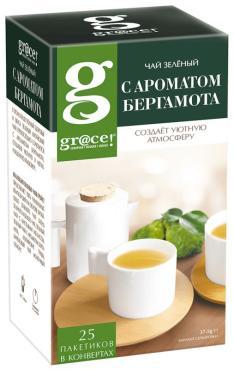 Чай с маслом бергамота зелёный Grace, 37,5 гр., картонная коробка