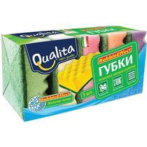 Губка Qualita Bubble Effect для мытья посуды, 5 шт.