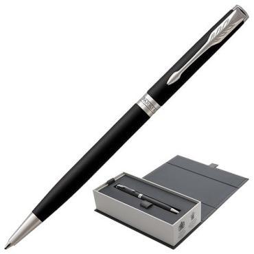 Ручка шариковая Parker Sonnet Core Matt Black CT Slim, тонкая, корпус черный матовый лак, палладиевые детали, черная