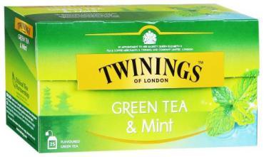 Чай зеленый Twinings Mint в пакетиках,25 шт