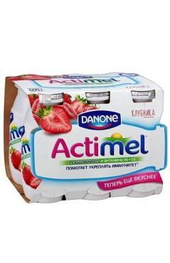 Кисломолочный продукт Аctimel клубника 2,5% 8*100 г