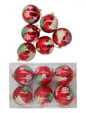 Елочные украшения Елки на красном диаметр шара 8 см, 6 шт