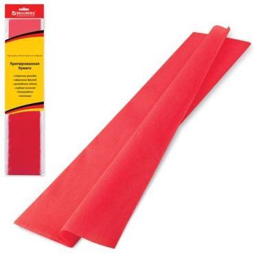 Цветная бумага крепированная Brauberg стандарт, красная, 50х200 см