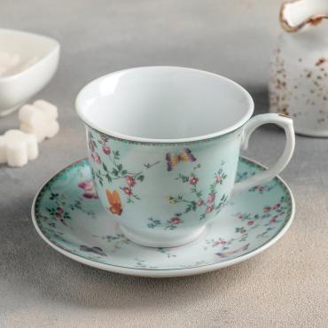 Чайная пара Доляна Пелагея чашка 220 мл., блюдце 14 см.
