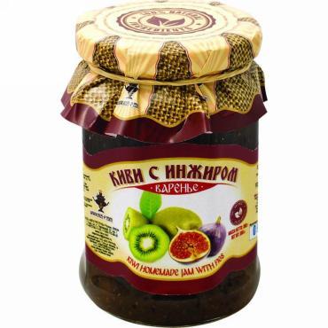 Варенье Знаток киви с инжиром, 240 гр, стекло