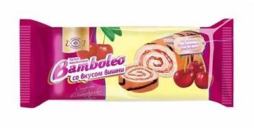 Рулет бисквитный со вкусом вишни Bamboleo, 145 гр., флоу-пак