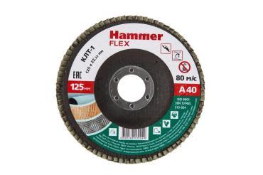 Круг лепестковый торцевой 125х22 Р 40 тип 1 КЛТ P40 Hammer Flex SE 213-024, 90 гр., картонная коробка