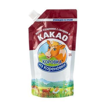 Молоко сгущенное с сахаром и какао 5%, Коровка из Кореновки, 270 гр., дойпак