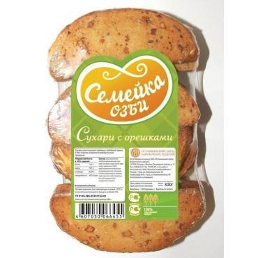 Сухари Семейка Озби с орешками, 300 гр., пакет
