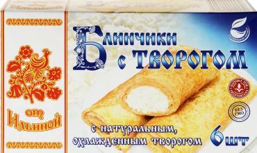 Блинчики От Ильиной с творогом замороженные, 450 гр, картон