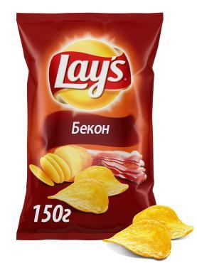 Чипсы картофельные Бекон,  Lays, 150 гр., флоу-пак