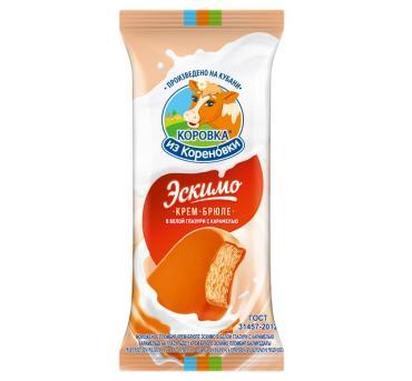 Мороженое пломбир крем-брюле в белой глазури с карамелью эскимо, 15,0%, Коровка из Кореновки, 70 гр., флоу-пак
