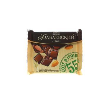 Шоколад темный, с целым карамелизованным миндалем, Бабаевский, 90 гр., Флоу-пак