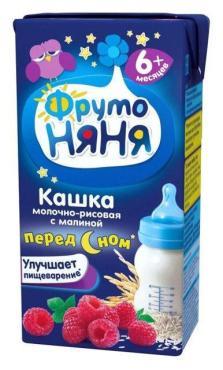 Каша ФрутоНяня молочная рисовая с малиной