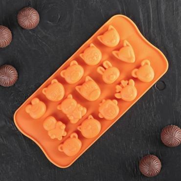 Форма для льда и шоколада Доляна Мордашки 21х10,5 см. 15 ячеек микс