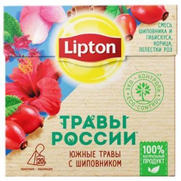 Напиток травяной с шиповником, 20пак, Lipton Травы России, 40 гр., Картонная коробка