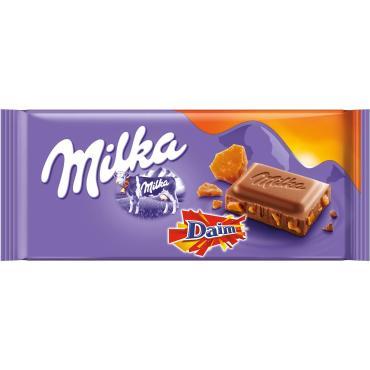 Шоколад Milka Daim с нежнейшей карамелью молочный