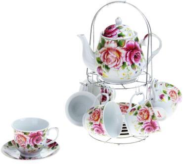 Сервиз чайный Доляна Томная роза на 6 персон 13 предметов чайная пара 230 мл. 6 шт., чайник 1 л.